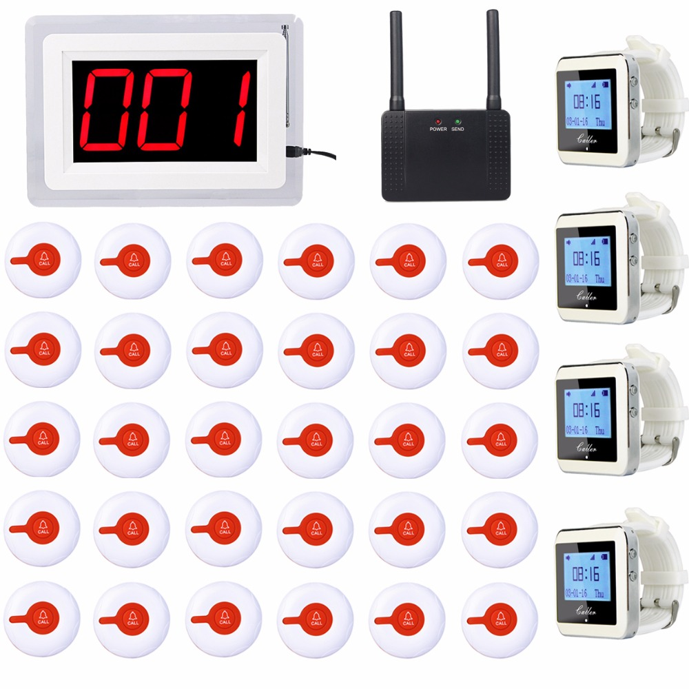Hospital Nurse Calling System Wireless Pagers 1 Receiver Host + 4 Watch Receiver +1 Signal Repeater+ 30 Call Button F3288B hospital nurse call system 10pcs bell buzzer with 6pcs watch receiver can hang on neck