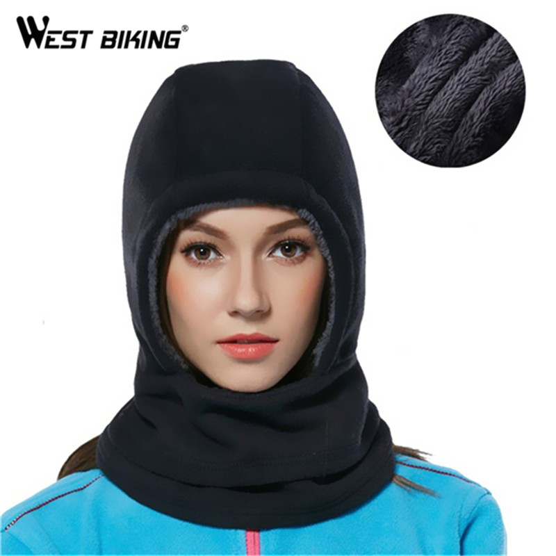 WEST BIKING Warm Bike Bicycle Cyling Fleece Hat Full Face Mask Cap Winter Scarf Hood Cover Women Cycling Hat Windproof Ski Mask men s winter warm black full face cover three holes mask cap beanie hat 4vqb