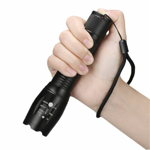 Police LED Flashlight Tactical 50000LM XML-T6 Zoomable Torch Lamp 5 Modes
