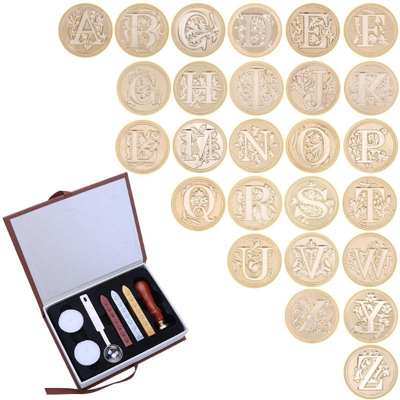 In Durable Box 26 English Alphabets Metal Hot Sealing Wax Clear Stamps Set Dia 25mm Stamps Wax Seals Delicate Cuprum Stamps(China)
