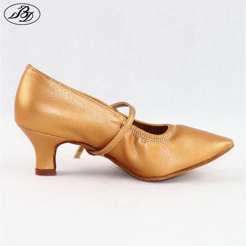 Women Standard Dance Shoes BD 125 Practice Heel Pigskin Leather Women Ballroom Dance Shoe Dancesport Dance