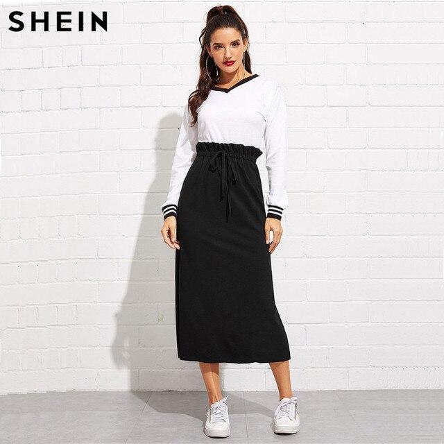 SHEIN Black Paperbag Waist Split Side Skirt Autumn  Casual Workwear Women Maxi Skirt High Waist Belted Split Hem Midi Skirt 3