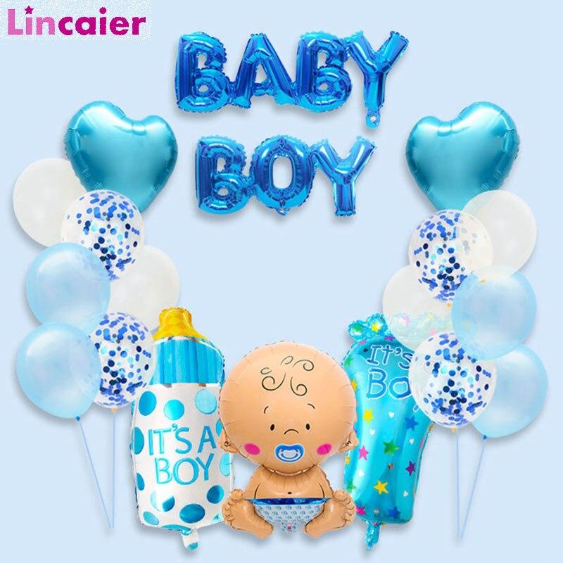 19 шт., Детские воздушные шары из фольги для душа, игры для Babyshower, крестильное украшение для крещения, вечерние украшения для мальчиков и дево...