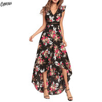 Two Colors Bohemian Style V Neck Floral Dipped Hem Dress Women Casual Fashion Holiday Summer Dresses