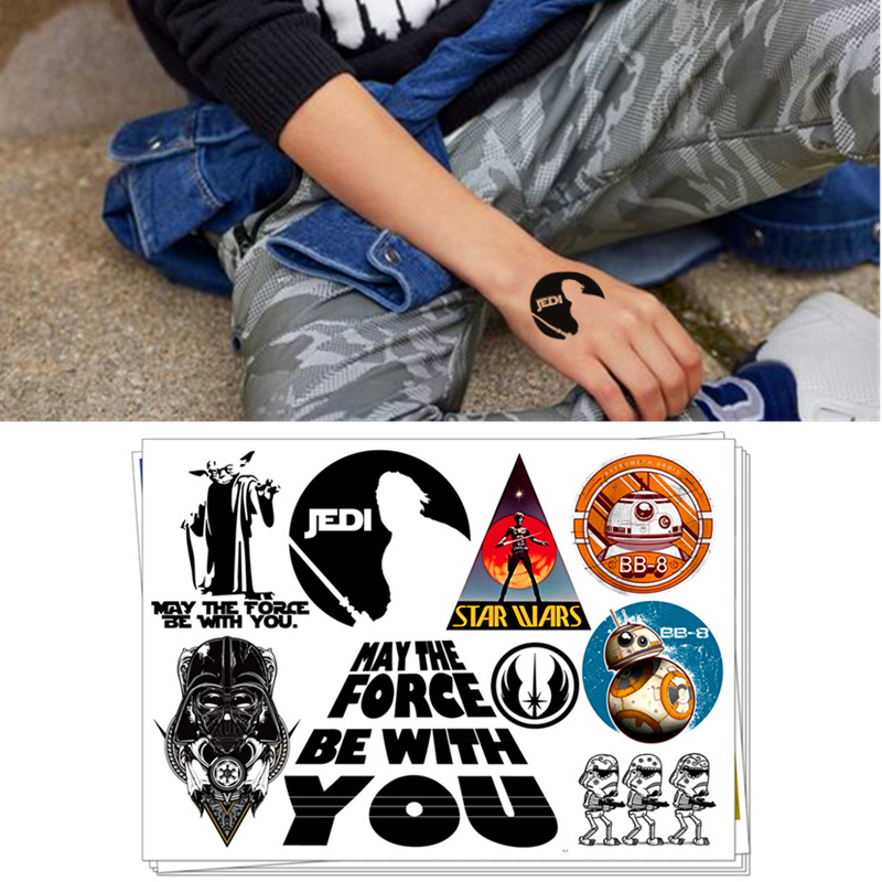 Children Temporary Tattoo Sticker Cartoon Body Art Novelty Gag Toys For Star Wars Jedi Darth Vander Fans Waterproof 2-3 Days