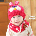 2015 Baby Girl chapéu e lenço definir inverno roupas de crochê menino chapéus infantil coelho quente gorros cappellini neonato recém-nascido para bebe