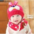2015 del bebé sombrero y la bufanda del invierno trajes de ganchillo sombreros del muchacho infantil conejo caliente gorros cappellini neonato bimotores recién nacido para bebe