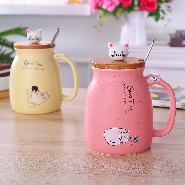 Cat Designed Ceramic Coffee Cup