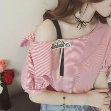 cute shirt short sleeve off shoulder striped tops SF