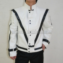 MJ Clothes Michael Jackson Thriller Costumes Men Singers Dancer Stage Wear Leather Jacket Outwear ! XXXS-3XL free shipping