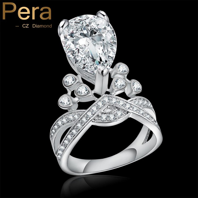 Luxury Bridal Wedding Silver Color Jewelry Permanent Statement Heart Cubic Zircon Created Daimond Finger Ring
