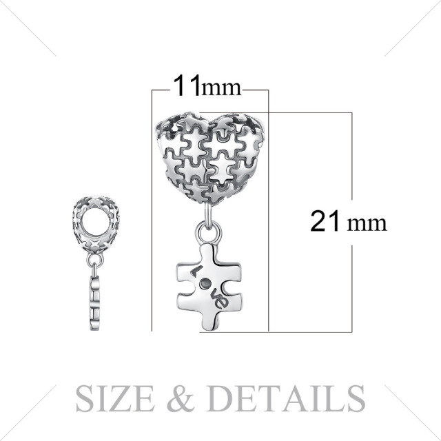 JewelryPalace 925 Sterling Silver Jigsaw Heart Puzzle Dangle Love Charm  Fashion For Women 2018 New Hot Sale Beautiful Gifts