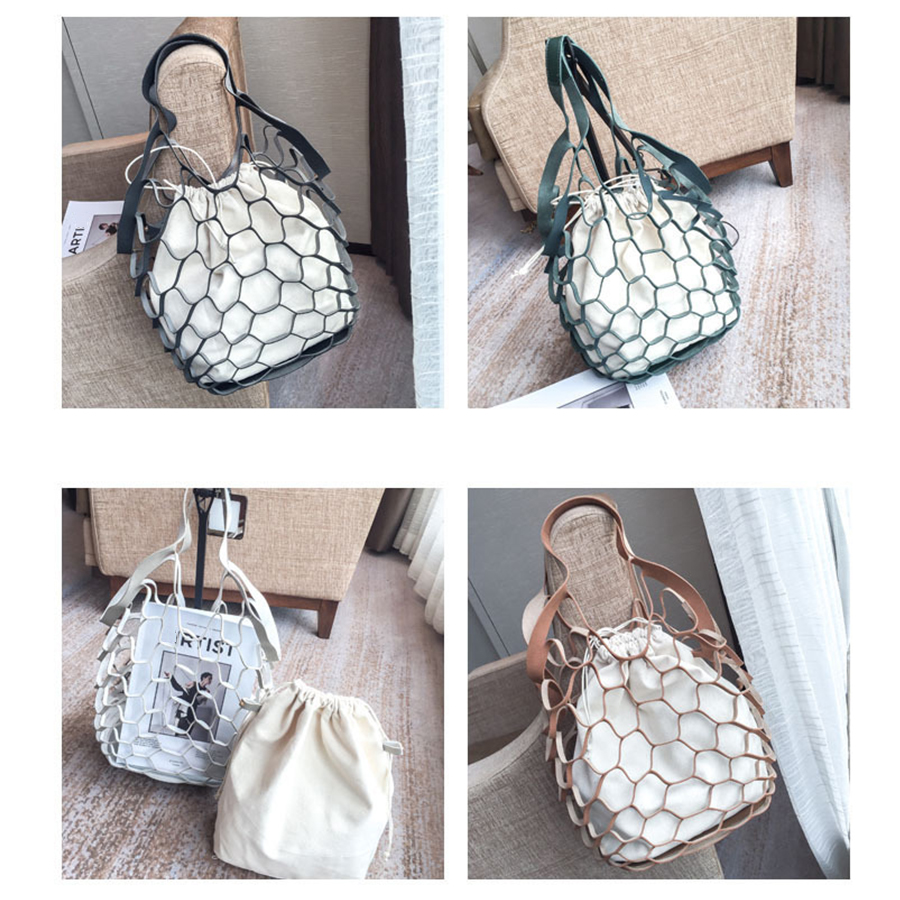 4a109818f68e Hollow Out Mesh Design Women Handbags Net Canvas Composite Bag Ladies  Drawstring Tote Famous Brands Casual Beach Bags Summer New-in Shoulder Bags  from ...