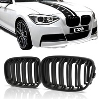 Pair ABS Replacement Matt Black Front Bumper Grille Grill Double Slat For BMW F20 F21 1