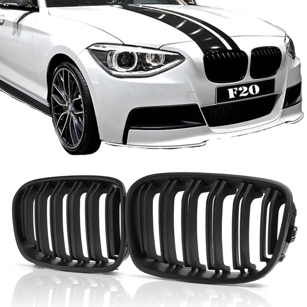 for BMW F20 F21 1 Series 2012 2013 2014 2015 Pair ABS Replacement Matt Gloss Black M Front Kidney Grille Grill Double Line Slat e60 abs front kidney grille grill for bmw 5 series e60 2004 2009 sedan e61 hatchback 1 slat 2 slat 535i 545i
