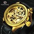 FORSINING Лидирующий бренд  роскошные золотые автоматические механические часы  мужские часы с резным циферблатом  кожаный ремешок  модные нару...