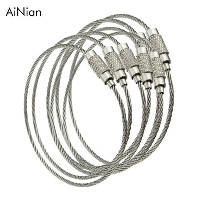 10pcs Screw Locking Stainless Steel Wire Keychain Cable Rope Key Holder Keyring