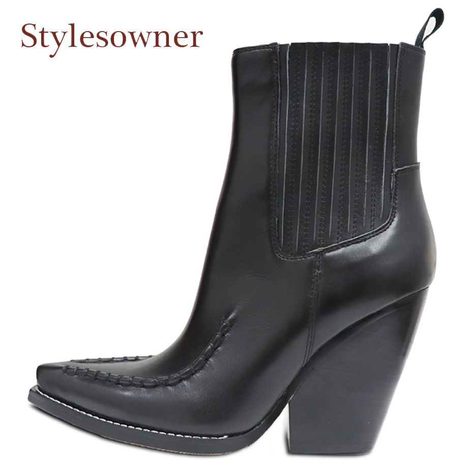 Stylesowner Winter Retro Chelsea Boots Woman Pointed Toe Black Real Leather Wedges High Heel Shoes Women Fashion Ankle Boots winter female woman round high engraving heel mid high rhinestone crystal buckle black real leather boots pointed toe shoe 1118