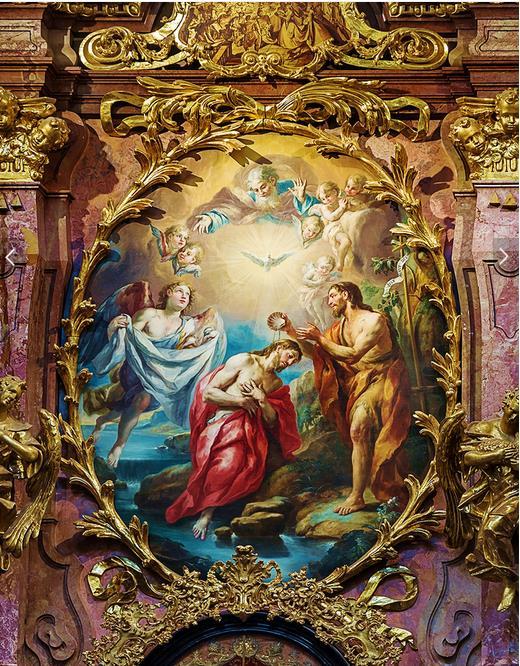 Высокое качество на заказ 3d потолочные обои фрески Иисус крестились классическая картина маслом Зенит фотообои Декор
