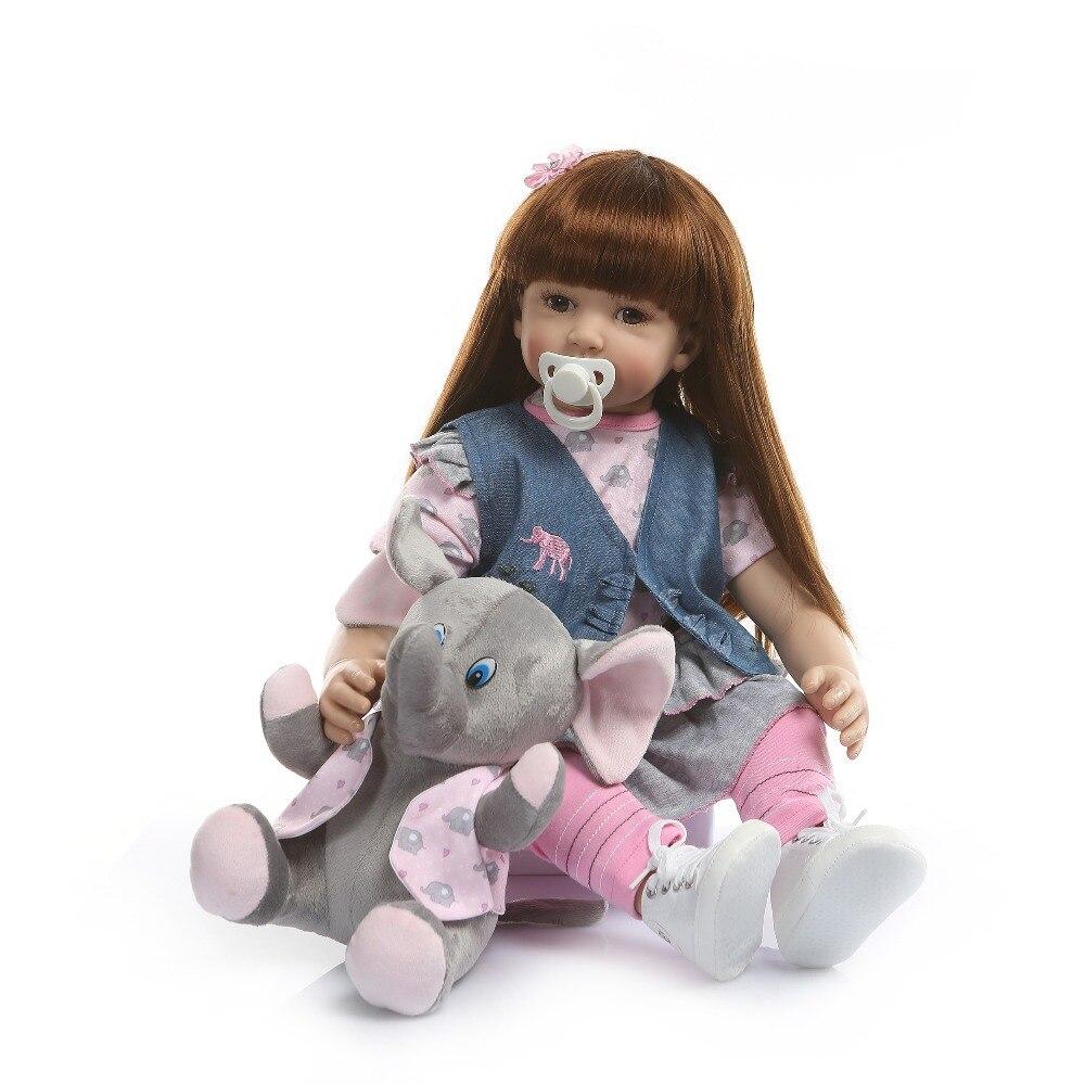 NPK 60 cm silicona Reborn Baby Doll juguetes para niñas exquisito vinilo princesa niño vivo Bebe bebés moda cumpleaños infantil regalo-in Muñecas from Juguetes y pasatiempos    2