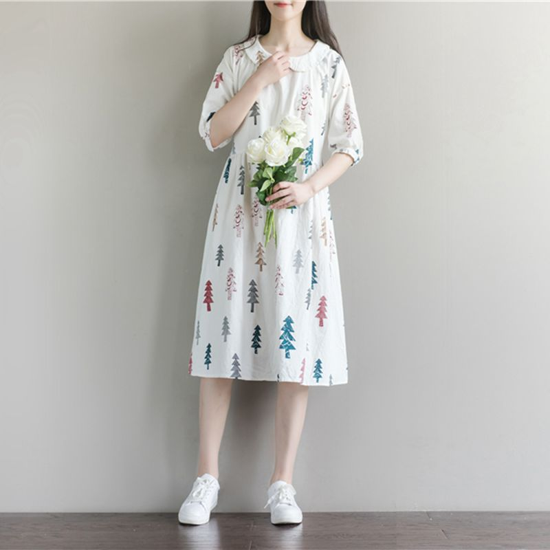 Half Sleeve 2018 Maternity Clothes For Pregnant Women Fashion Lovely Peter Pan Collar Cotton Linen Loose Casual Pregnancy Dress
