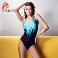 Andzhelika 2017 New One Piece Swimwear Women Sports Bodysuit Swimsuit Hollow Out Halter Beach Suits Sexy