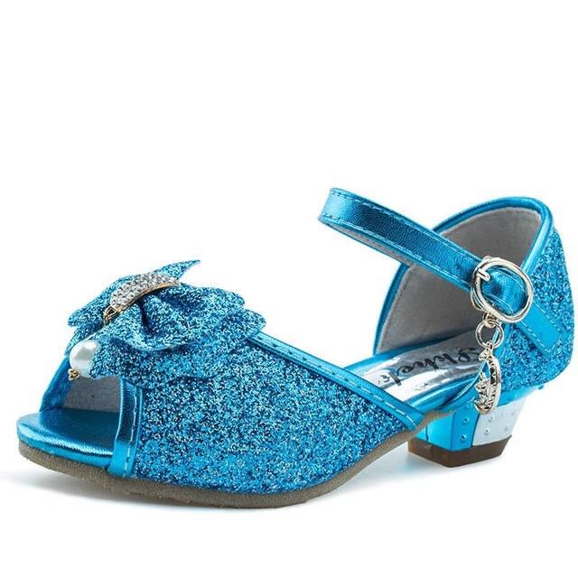 10d978685 Menina crianças sandálias princesa sapatos de salto alto azul 3 4 5 6 7 8 9