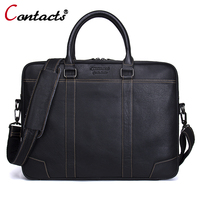CONTACT S Men Bag Genuine Leather Computer Tote Laptop Bag Handbag Briefcase Office Bags Male Designer