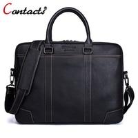 CONTACT S Men Bag Genuine Leather Computer Tote Laptop Bag Handbag Briefcase Office Bags Male Designer