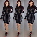 Womens Sexy Black Slim Geometry Sequined Long Sleeve Turtleneck Above Knee Dresses Clubwear Clothes