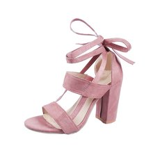 Women sandals Fashion Heels Shoes Woman Quality Lace Up High