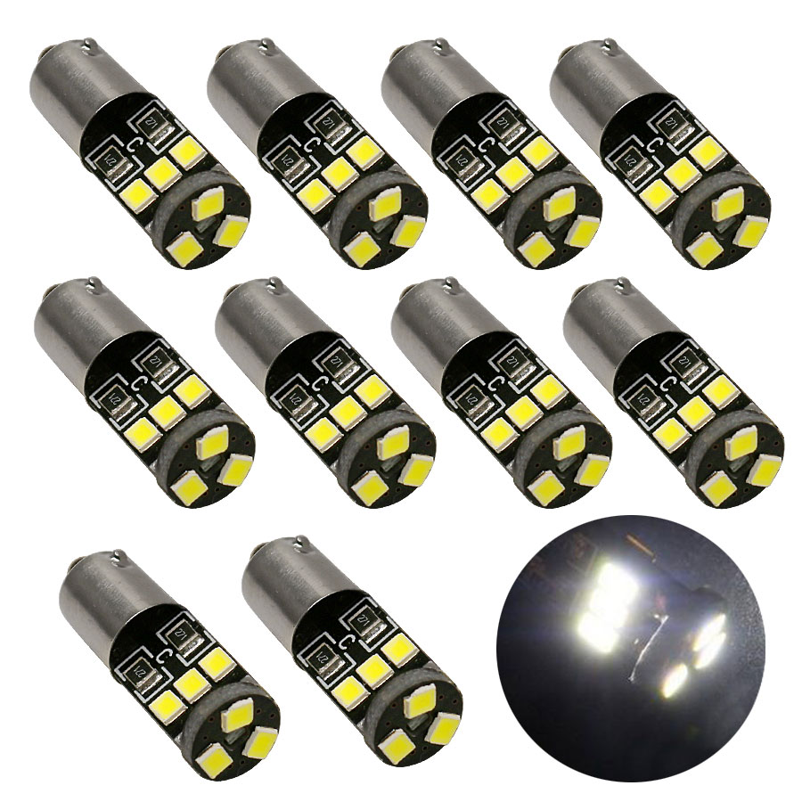 10PCS BA9S T4W H6W 2835 SMD CANBUS White 9 LED Car Wedge Side Dome Map Reading License Plate Parking Light Lamp Bulb 12V image