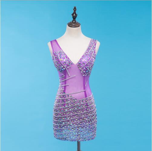 Anniversaire célébrer robe discothèque femmes chanteur spectacle robe sans manches lumineux multicolore strass noir violet maille robe