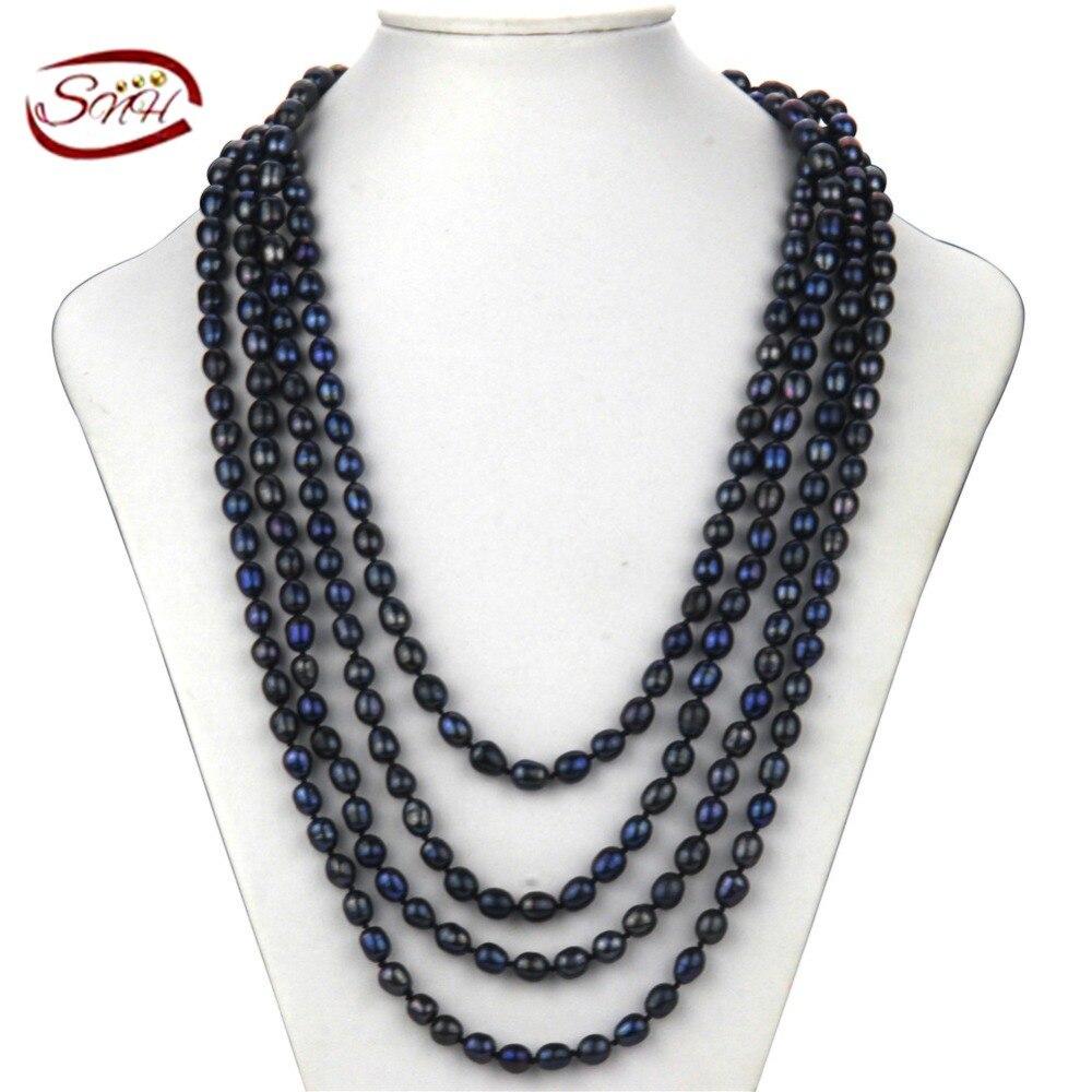 SNH couleur noire Collier De Perles Naturelles, décontracté Riz Perle Choker Colliers, 100 Pouces Blanc Perle D'eau Douce Bijoux Ras Du Cou