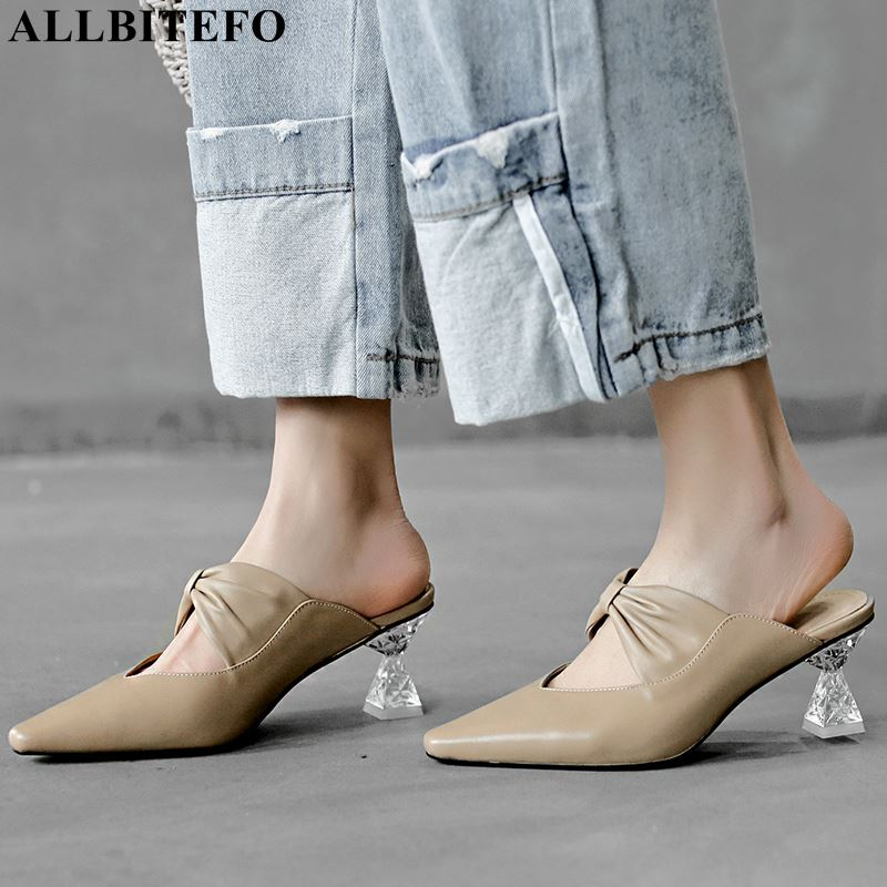 ALLBITEFO genuine leather crystal heel wedding women shoes high quality summer women sandals office ladies shoes