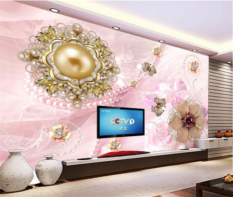 papel de parede Custom Photo Wallpaper Mural Wall Stickers Noble Dream Diamond Lace Pearl Flower Backdrop in Wallpapers from Home Improvement