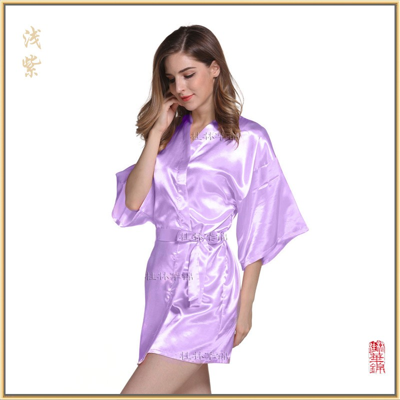 RB030 Sexy Large Size Sexy Satin Night Robe Lace Bathrobe Perfect ... e3f566f44c40