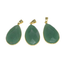 цена на 5pc Fashion Jewelry Water Drop Marble natural gem stone pendant for chain necklace faceted green aventurine point pendant women