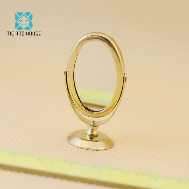 Dolls bathroom accessories Doll House Miniature Vintage Gloden Vanity mini Mirror 1/12 scale