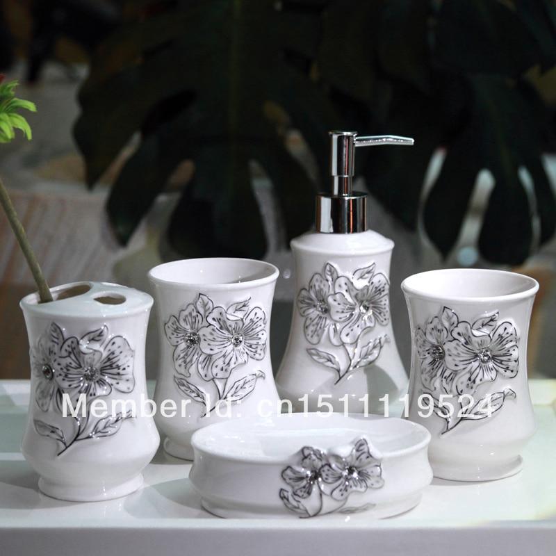 French stereoscopic carved diamond ceramic bathroom set of for Quality bathroom decor