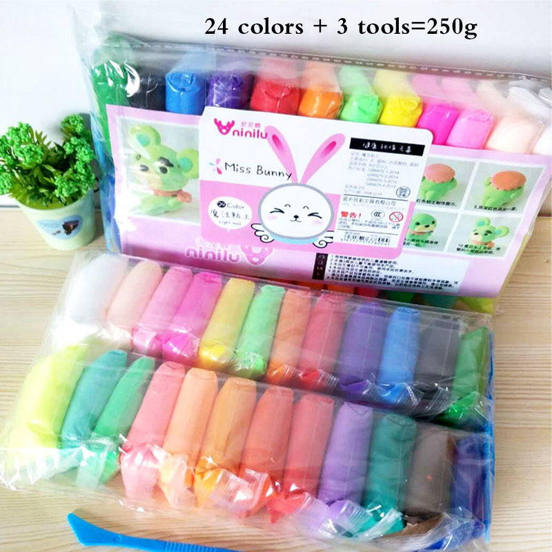 24/36 Colors Light Clay Air Dry Polymer Plasticine Modelling Clay Super Light DIY Soft Creative Handgum Educational Clay Toys