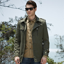 Europe Russia Trend Men Lapel Neck Jackets Pockets Buttons Trench Coat Green Cot