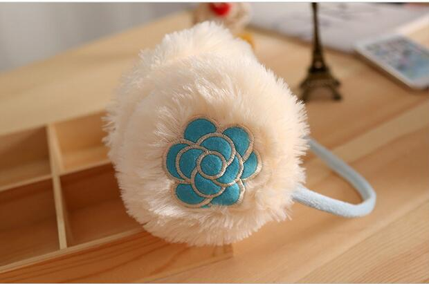 Winter Rose Lady Soft Plush Earmuffs New Embroidery Ladies Warm Ear Warmers For Girls
