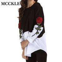 MCCKLE Frauen Stickerei Patchwork Bluse Mode Gefälschte Zwei Stücke Shirts Frühling Plus Größe Casual Langarm Frauen Blusas Tops