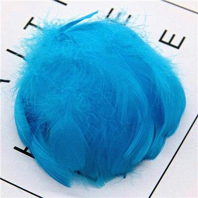 Натуральные перья лебедя 4-7 см 1-2 дюйма маленькие плавающие Шлейфы гусиное перо цветной шлейф для украшения рукоделия 100 шт - Цвет: lake blue 100pcs