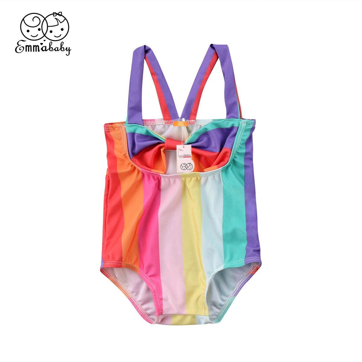 2018 Latest Childrens Wear Toddler Infant Kid Baby Girl Rainbow Stripe Halter Swimsuit Swimwear -5329