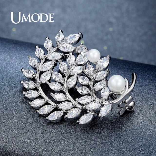 557b17f67e6b Umode moda perla de tres capas hojas Broches para mujeres plata color  Plumas broche y Pasadores