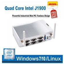Безвентиляторный мини-ПК четырехъядерный J1900 RS485 6 COM портов Windows Linux мини-маршрутизатор Настольный компьютер VGA HDMI USB WiFi