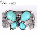 YMENGZ Brand New Arrival Butterfly Design Romantic Antique Silver Bracelets Bangles Women Fashion Imitation Turquoise Jewelry