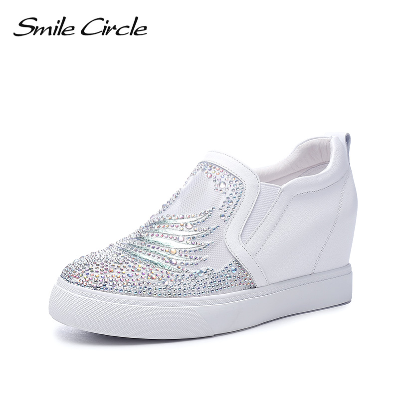 Smile Circle 2019 Summer Wedges Shoes Women Sneakers Fashion rhinestone platform casual shoes For Women white